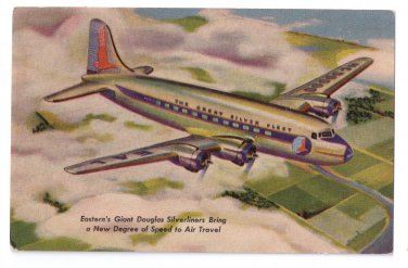 Great Douglas Silverliner Eastern Airlines Skymasters Vntg Aviation Postcard