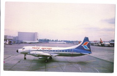 Pacific Western Convair CV-640 Seattle Airport Airplane Vntg Aviation Postcard