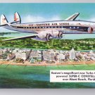 Eastern Air Lines Super-C Constellation Aircraft Over Miami Beach Aviation Postcard