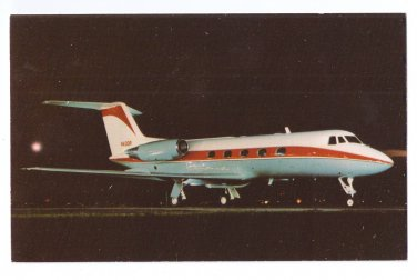 Grumman Gulfstream II Jet Aircraft Vintage Aviation Postcard Airplane Night Photo