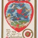Cupid Cherub Flying Winged Hearts Embossed Gold 1908 Valentine Postcard
