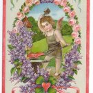 Cupid Cherub Blacksmith Anvil Forging Heart Embossed Vintage 1923 Valentine Postcard