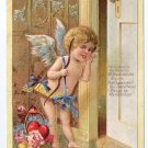 Cupid Cherub Listening at Door Roses Poem Embossed Gold Vintage Valentine Postcard