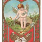 Cupid Sharpening His Arrow Embossed Gold Hearts Vintage Valentine Postcard
