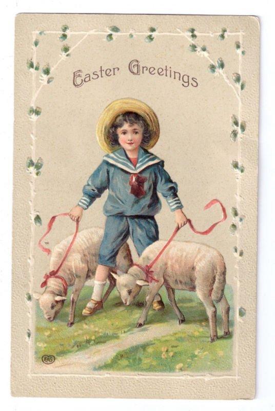 Easter Boy Sailor Suit Lambs Sheep EAS Embossed Vintage Postcard ca 1910