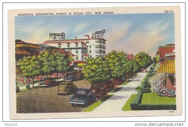 Ocean City NJ Beautiful Residential Street New Jersey Vintage 1945 Linen Postcard