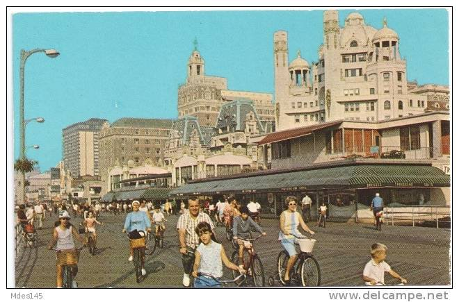 Atlantic City NJ 1973 Boardwalk Riding Bicycles Pre Casino Hotels Postcard