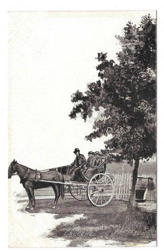 Quebec Canada Caleche Horse Carriage Vtg Morissette Postcard
