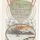 Valentine Postcard Loves Messenger Motto Cottage Scene Gold Embossed Vintage