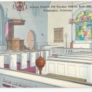 Wilmington DE Old Swedes Church Interior Illustration Delaware Vintage Postcard