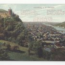 Germany Heidelberg from the Terrasse Poem Postcard Vintage ca 1910