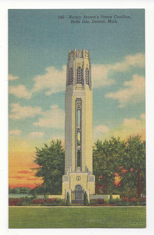 MI Detroit Nancy Browns Peace Carillon Belle Isle Vtg 1943 Linen Postcard