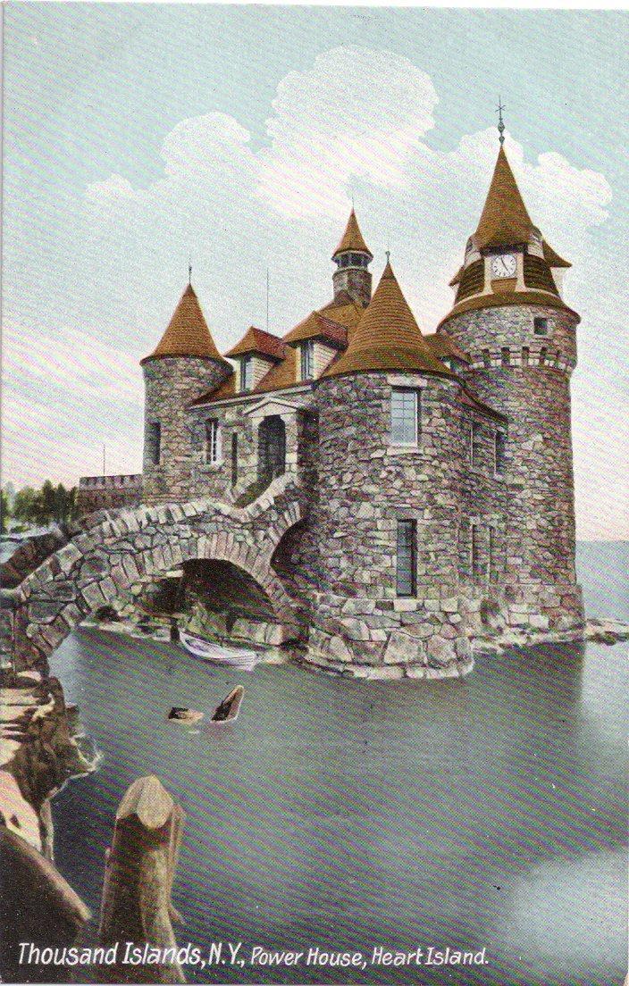 NY Thousand Islands Heart Island Power House Castle Moat Vintage c 1915 Postcard
