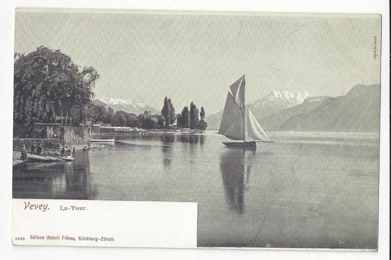Switzerland Vevey La Tour de Peilz Harbour Sailboat ca 1905 Vtg UDB Postcard