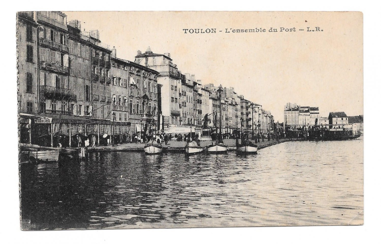 France Toulon L'ensemble du Port L. R. Quai boats Vintage Postcard