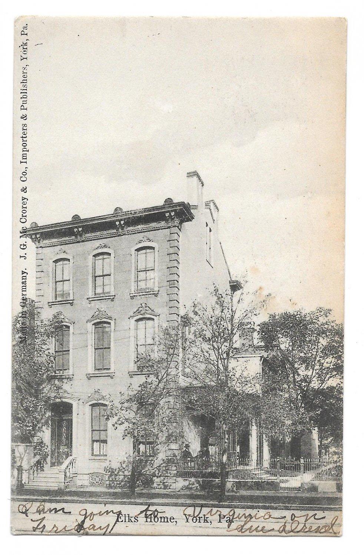 York PA Elks Home Fraternal Organization Lodge Building 1906 Vintage Postcard