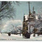 Canada Quebec Montreal Sherbrooke St. in Winter Vintage ca 1910 Postcard