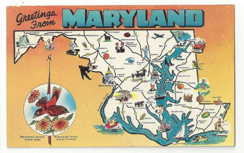 Maryland Map Greetings Landmarks State Bird Flower Vtg 1950s MD Postcard