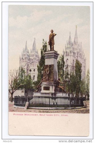 Utah Pioneer Monument Salt Lake City Mormons Vintage UDB Postcard