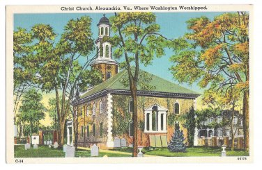 VA Alexandria Christ Church Where Washington Worshipped Linen Postcard Vintage
