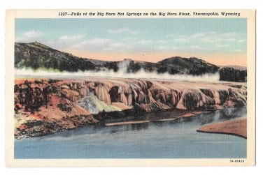 WY Thermopolis Big Horn River Hot Springs Falls Vintage 1950 Linen Postcard