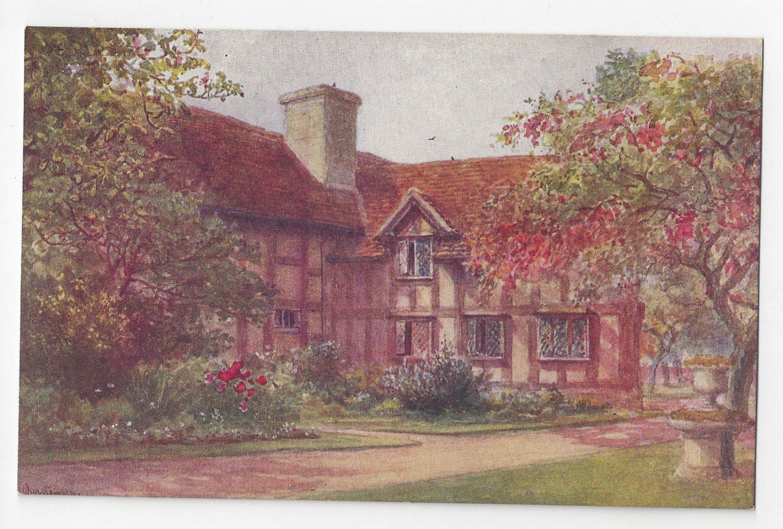 UK Stratford on Avon Shakespeares Birthplace Garden Quatremain Watercolor Postcard