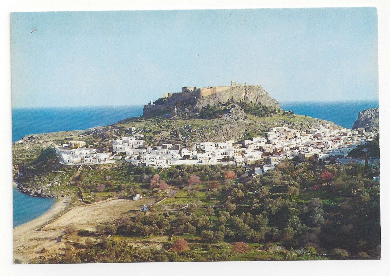 Greece Rhodes Lindos Modern City under Acropolis 4X6 Vintage Postcard