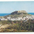 Greece Rhodes Lindos Modern City under Acropolis 4X6 Vintage Postcard