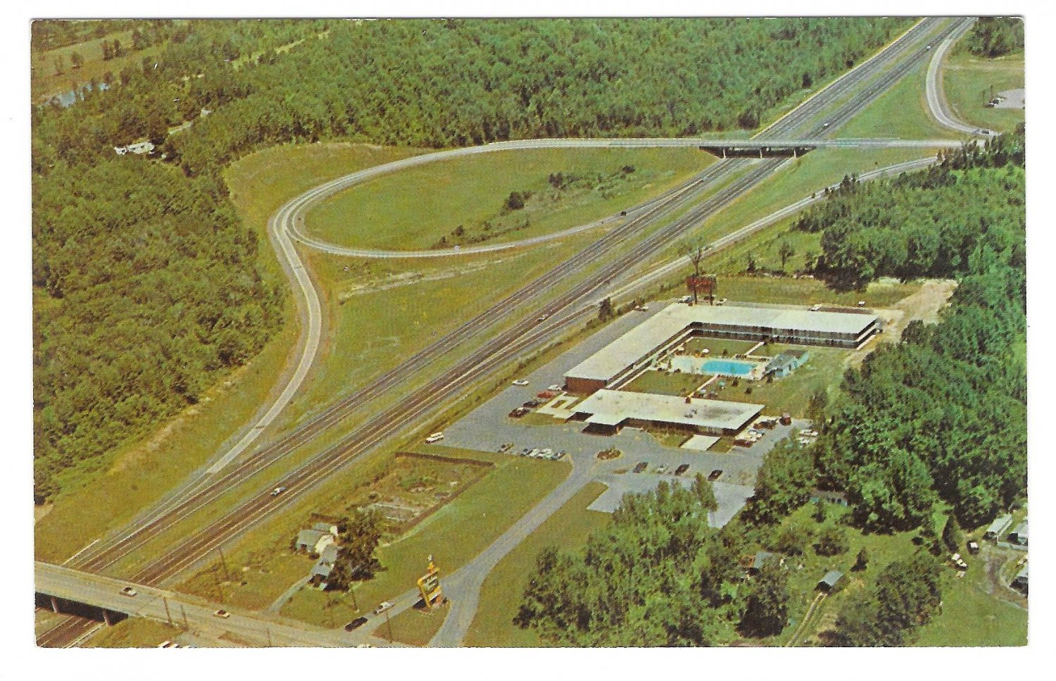 Holiday Inn Motel Newburgh New York Aerial View Vintage Hotel Postcard