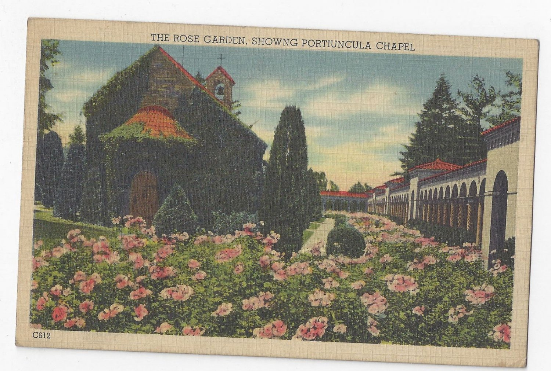 Washington DC Franciscan Monastery Rose Garden Portiuncula Chapel Vintage Linen Postcard
