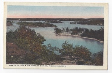 NY Thousand Islands View of Canadian Channel Islands Vintage Postcard