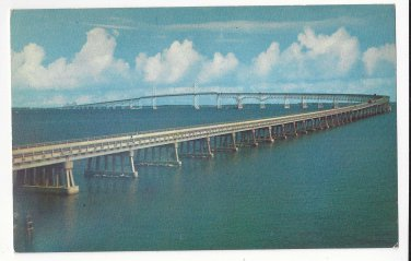 MD Chesapeake Bay Bridge 7 Mi long Maryland Vintage Chrome Postcard