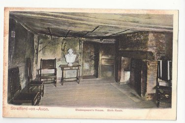 UK Stratford on Avon Shakespeare's House Birth Room Vtg Autochrom Postcard c1910