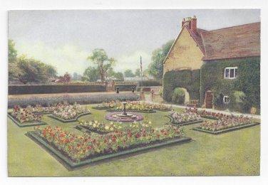 UK England Sulgrave Manor Rose Garden George Washington Vtg Board Postcard