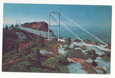 NC Grandfather Mountain Mile High Swinging Bridge Linville Peak Vintage Postcard