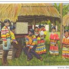Musa Isle FL Seminole Indian Village Miami Florida FL Linen Postcard