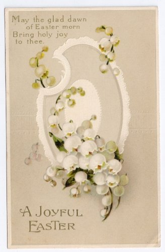 Vintage Easter Postcard Embossed Egg Lily of the Valley ca 1910 IAP Printed in Germany