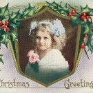 Christmas Whitney Made Vintage Postcard Embossed Gilt Holly Frame Pretty Girl 1915