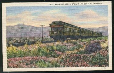California Train Westward Bound Crossing the Desert Linen 1936 Vintage Postcard