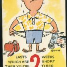 Vacation Comic Humor  Lasts 2 weeks which are 2 short  Vintage c 1950's Postcard