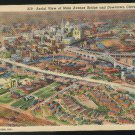 OH Aerial View Main Avenue Bridge Downtown Cleveland Ohio Vintage Curteich Linen Postcard