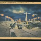 Underpass Main Avenue Bridge Cleveland Ohio Tichnor Linen Postcard RMS Transfer Office Cancel