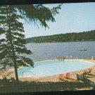 Boothbay Harbor ME Linekin Bay Camp Resort Heated Salt Water Swimming Pool Vintage Maine Postcard