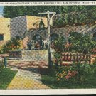 TX Patio Spanish Governor's Palace San Antonio Texas E.C. Kropp Linen 1938 Postcard