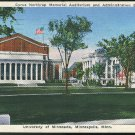 University of Minnesota Minneapolis MN Cyrus Northrup Memorial Auditorium 1941 Postcard