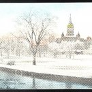 Hartford CT Bushnell Park in Winter Vintage S H Havens Postcard Tinted Postally unused