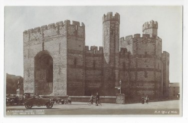 UK Wales Caernarvon Castle Queens Gate Towers HM Office of Works Blue TintedPostcard