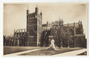"""UK England Exeter Cathedral North Side Tucks """"Real Photograph"""" Vintage Postcard"""