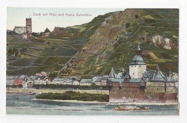 Germany Caub mit Pfalz und Ruine Gutenfels Kaub Castle Rhine Vtg Postcard c 1910