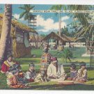 FL Everglades Seminole Indian Family Village 1953 Vintage Thermometer Linen Postcard